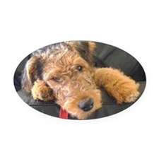 Earnest the Airedale Oval Car Magnet