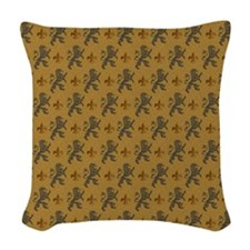 Rampant Lions And Fleurs Woven Throw Pillow