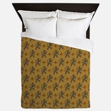 Rampant Lions And Fleurs Queen Duvet
