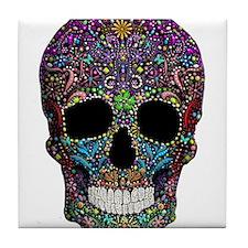Colorskull on Black Tile Coaster