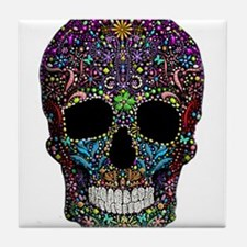 Colorskull on Black Tile Coaster