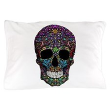 Colorskull on Black Pillow Case