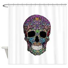 Colorskull on Black Shower Curtain
