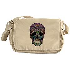 Colorskull on Black Messenger Bag