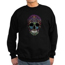 Colorskull on Black Sweatshirt