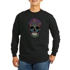 Colorskull on Black Long Sleeve T-Shirt