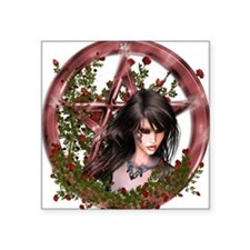 Wiccan Pentacle Gothic Gilr Flowers Sticker