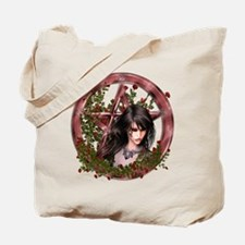 Wiccan Pentacle Gothic Gilr Flowers Tote Bag