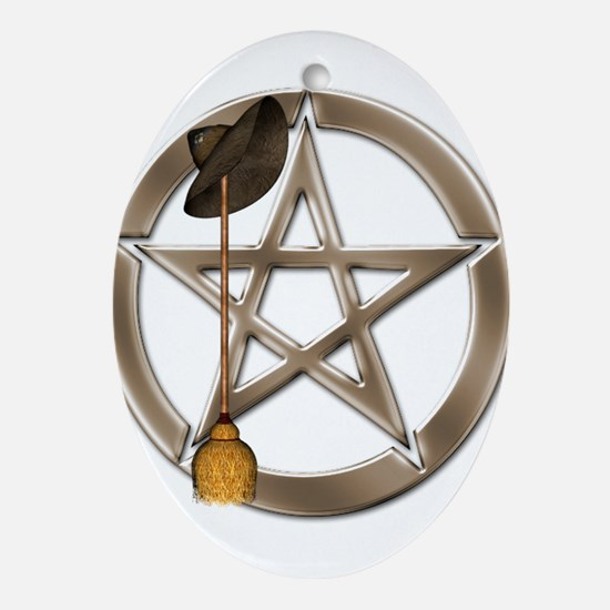 Silver Wiccan Pentacle and Broom Ornament (Oval)