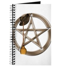 Silver Wiccan Pentacle and Broom Journal