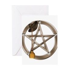 Silver Wiccan Pentacle and Broom Greeting Cards