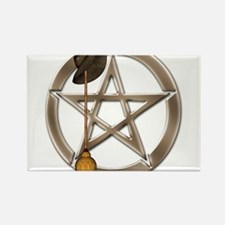 Silver Wiccan Pentacle and Broom Magnets