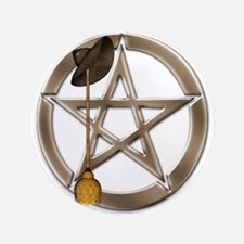 "Silver Wiccan Pentacle And Broom 3.5"" Button"