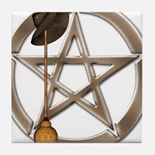 Silver Wiccan Pentacle and Broom Tile Coaster