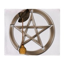 Silver Wiccan Pentacle and Broom Throw Blanket