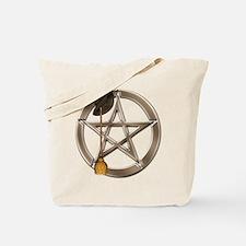 Silver Wiccan Pentacle and Broom Tote Bag