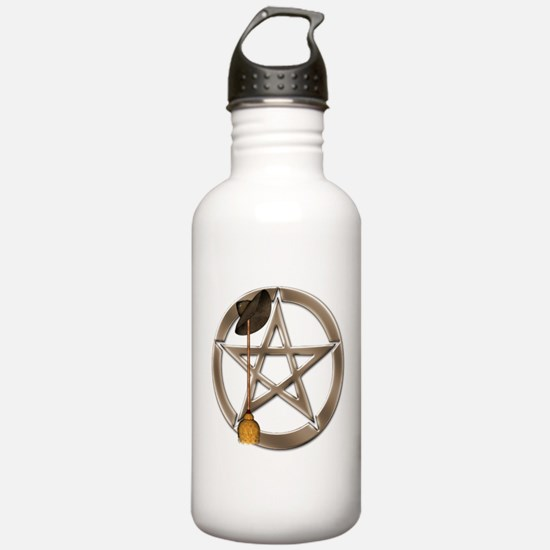 Silver Wiccan Pentacle and Broom Water Bottle