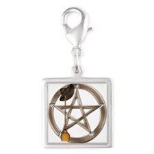 Silver Wiccan Pentacle And Broom Charms