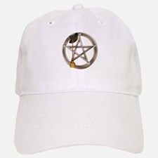 Silver Wiccan Pentacle and Broom Baseball Cap