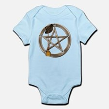 Silver Wiccan Pentacle and Broom Body Suit