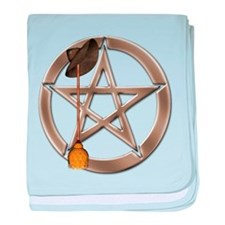 Silver Wiccan Pentacle and Broom baby blanket