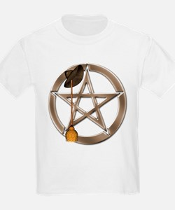 Silver Wiccan Pentacle and Broom T-Shirt