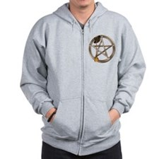 Silver Wiccan Pentacle and Broom Zip Hoodie
