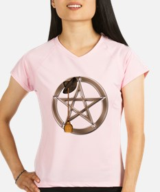 Silver Wiccan Pentacle and Broom Performance Dry T
