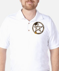 Silver Wiccan Pentacle and Broom Golf Shirt