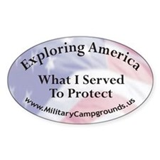 Military Campgrounds Oval Decal