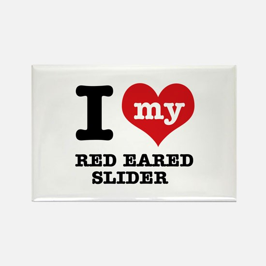 I love my Red Eared Slider Rectangle Magnet (10 pa