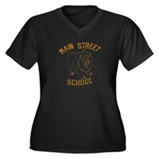 Main Street School Women's Plus Size V-Neck Dark T