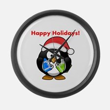 Happy Holidays! (Penguin) Large Wall Clock