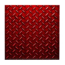 Red Diamond Plate Tile Coaster