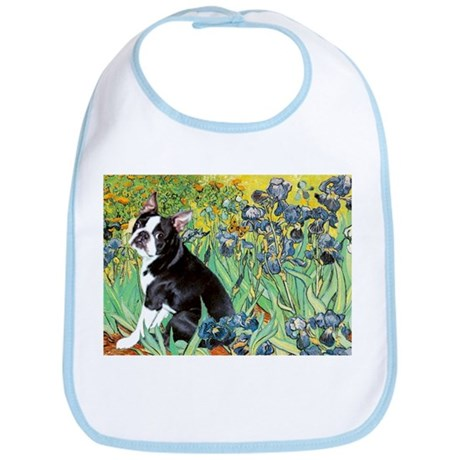 Irises & Boston Ter Bib
