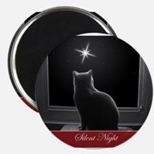 British Shorthair Gazing at Christmas Star Magnets