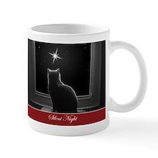 British Shorthair Gazing at Christmas Star Mugs