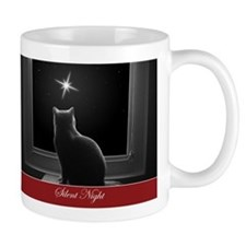 British Shorthair Gazing at Christmas Star Mugs