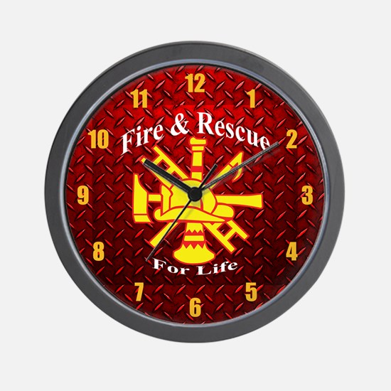 Fire And Rescue For Life Diamond Plate Wall Clock