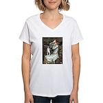 Ophelia & Boston Terrier Women's V-Neck T-Shirt