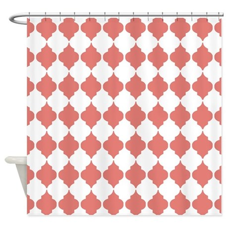 coral moroccan quatrefoil shower curtain by