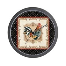 Vintage Rooster Country French Watercolor Red, Bla