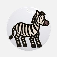 Cartoon Zebra Round Ornament