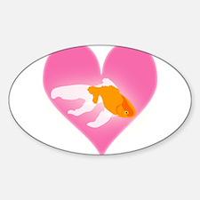 Goldfish Love Sticker (Oval)