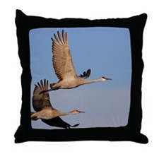 cranes in flight Throw Pillow