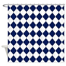 navy blue Moroccan Quatrefoil Pattern Shower Curta