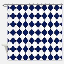 navy blue Moroccan Quatrefoil Pattern Shower Curta