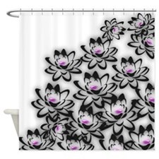 Large Abstract Lotus Flowers Soft Shower Curtain