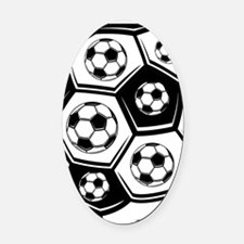 Love Soccer Oval Car Magnet