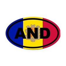 Andorra Flag Oval Car Magnet